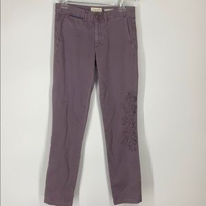 Anthropologie chino lavender embroidered pants 26